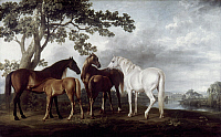 0026564 © Granger - Historical Picture ArchiveSTUBBS: HORSES, 1760-70.   Mares and foals in a landscape. Oil, 1760-70, by George Stubbs. RESTRICTED OUTSIDE US.