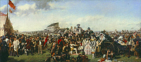 0027410 © Granger - Historical Picture ArchiveFRITH: DERBY DAY, 1856-58.   'The Derby Day.' Oil on canvas, 1856-58, by William Powell Frith. RESTRICTED OUTSIDE US.