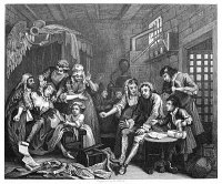 0050283 © Granger - Historical Picture ArchiveHOGARTH: RAKE'S PROGRESS.   'Prison Scene.' Steel engraving, c1840, after William Hogarth.
