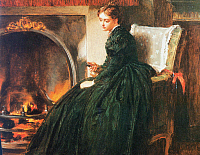 0065038 © Granger - Historical Picture ArchiveSTONE: WOMAN BY FIRESIDE.   Painting by Marcus Stone, 19th century.