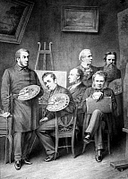 0101563 © Granger - Historical Picture ArchiveFAMOUS ARTISTS.   Fictitious group portrait of famous British artists. From left: J.M.W. Turner, David Wilkie, J.E. Millais, Edwin Henry Landseer, William Powell Frith, and Holman Hunt. Lithograph, 19th century.