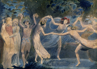 0162901 © Granger - Historical Picture ArchiveBLAKE: FAIRIES, c1786.   Oberon, Titania and Puck dancing with fairies in a scene from William Shakespeare's 'A Midsummer Night's Dream.' Painting by William Blake, c1786.