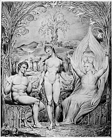0162983 © Granger - Historical Picture ArchiveBLAKE: PARADISE LOST, 1808.   'The Archangel Raphael with Adam and Eve.' Watercolor illustration by William Blake, 1808, for John Milton's 'Paradise Lost.'