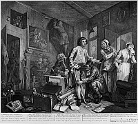 0163593 © Granger - Historical Picture ArchiveHOGARTH: RAKE'S PROGRESS.   'The Heir.' Etching and engraving after a the first painting in the series 'The Rake's Progress,' depicting the decline of the character Tom Rakewell, by William Hogarth, 1735. Rakewell is being measured for new clothes after the death of his father as the servants mourn, he also rejects the hand of his pregnant fiancee at right.