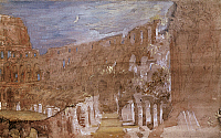 0165647 © Granger - Historical Picture ArchiveTURNER: COLOSSEUM, 1819.   Interior of the Colosseum in Rome, by moonlight. Watercolor by Joseph Mallord William Turner, 1819. RESTRICTED OUTSIDE US.