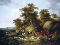 0351647 © Granger - Historical Picture ArchiveMORLAND: FOX HUNTERS.   'The Death of the Fox.' Oil on canvas by George Morland, c1791-1794.