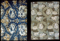 0351819 © Granger - Historical Picture ArchiveMORRIS: WALLPAPER.   Two wallpaper designs by William Morris. Left: 'Indian Rose,' 1876. Right: Lea, c1885. RESTRICTED OUTSIDE US.