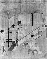 0120367 © Granger - Historical Picture ArchiveCHINA: PALACE CONCERT.   A Chinese emperor listening to a concert being performed by the ladies of his court. Detail of a painted silk scroll by an unidentified artist of the Sung Dynasty (960-1279), after a work of c970 by Chou Wen-Chu, court painter of Li Wu, last emperor of the Southern T'ang Dynasty.