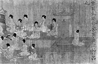 0120370 © Granger - Historical Picture ArchiveCHINA: PALACE CONCERT.   Ladies of the court performing a concert in the presence of a Chinese emperor. Detail of a painted silk scroll by an unidentified artist of the Sung Dynasty (960-1279), after a work of c970 by Chou Wen-Chu, court painter of Li Wu, last emperor of the Southern T'ang Dynasty.
