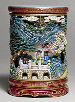 0120466 © Granger - Historical Picture ArchiveCHINA: BRUSH POT.   Ceramic brush pot from the palace of Emperor Ch'ien Lung of China (1736-1796), featuring a depiction of Europeans in a procession to visit the emperor.