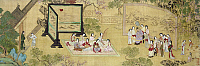 0120467 © Granger - Historical Picture ArchiveCHINA: PALACE CONCERT.   Chinese ladies performing music for the emperor, who awaits his serving of tea (being prepared at right). Detail of a painted silk scroll in the style of Qiu Ying, Ming Dynasty, 16th century.