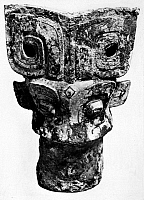 0122088 © Granger - Historical Picture ArchiveCHINA: STAFF FINIAL.   Bronze staff finial in the form of two animal faces. Shang Dynasty, 14th-11th century B.C.