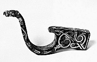 0122296 © Granger - Historical Picture ArchiveCHINA: CHARIOT FITTING.   Bronze chariot fitting with silver inlay, featuring a handle in the form of a long-necked dragon holding a bead in its mouth. Late Eastern Zhou, 3rd century B.C.