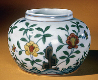 0122776 © Granger - Historical Picture ArchiveCHINA: PORCELAIN JAR.   White porcelain jar decorated in tou-ts'ai enamels. Diameter: 5 in. Cheng-hua period, Ming Dynasty, 1464-1487.