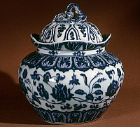 0122778 © Granger - Historical Picture ArchiveCHINA: PORCELAIN JAR.   Blue and white porcelain jar. Height: 11 1/4 in. Ming Dynasty, 15th century.