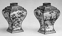 0122783 © Granger - Historical Picture ArchiveCHINA: TEA CADDIES.   A pair of porcelain tea caddies, decorated with scenes of people and flowers. Height: 5 7/8 in. Yung Cheng period, Ching Dynasty, 1723-1735.