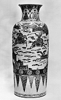 0122791 © Granger - Historical Picture ArchiveCHINA: PORCELAIN VASE.   White porcelain sleeve vase with famille verte enamels, decorated with scenes of cavalry maneuvers. K'ang Hsi period, Ching Dynasty, 1661-1722.