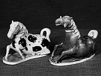 0122948 © Granger - Historical Picture ArchiveCHINA: PORCELAIN HORSES.   Glazed porcelain figures of horses. K'ang Hsi period, Ching Dynasty, 1661-1722.