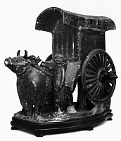 0122952 © Granger - Historical Picture ArchiveCHINA: TOMB MODEL.   Earthenware tomb model of a bullock cart, with dark brown glaze. Six Dynasties, 6th century A.D.