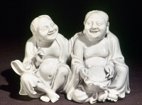 0123169 © Granger - Historical Picture ArchiveCHINA: PORCELAIN FIGURES.   White porcelain figures representing peace and harmony. Dehua ware, Fujian province. Height: 4 1/4 in. Ching Dynasty, 17th century.
