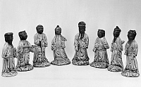 0123276 © Granger - Historical Picture ArchiveCHINA: IMMORTALS FIGURES.   White porcelain figures, with celadon glaze, of the Eight Immortals. K'ang Hsi period, Ching Dynasty, 1661-1722.