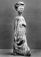 0123376 © Granger - Historical Picture ArchiveCHINA: TOMB FIGURE.   Earthenware tomb figure of a lady making a stately step. T'ang Dynasty, 618-907 A.D.
