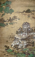 0123606 © Granger - Historical Picture ArchiveCHINA: PALACE.   A palace of the T'ang Dynasty beside a lake. Painted silk hanging scroll, Yuan Dynasty, 1279-1368.
