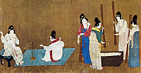0123609 © Granger - Historical Picture ArchiveCHINA: SILK MANUFACTURE.   Women drawing out silk threads (left) and beating silk fibers in a trough with flails. Detail from 'Court Ladies Preparing Newly-woven Silk,' a painted silk handscroll attributed to Emperor Hui Tsung, Sung Dynasty, early 12th century, after a work by a T'ang Dynasty artist of the 8th century.