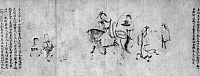0123938 © Granger - Historical Picture ArchiveCHINA: DRUNK OFFICIAL.   Shan Chien, a Jin governor of the Six Dynasties period, riding back after getting drunk with wine at one of his feasts at Kao-yang pond, 309 A.D. Detail from a handscroll, Ching Dynasty, 17th century, purported to be based on a work by the Sung Dynasty artist Li Gonglin (1049-1106). Ink on paper.