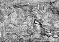 0124185 © Granger - Historical Picture ArchiveCHINA: PALACES OF CH'IN.   Landscape of palaces of the Ch'in Dynasty (221-206 B.C.). Detail of a painted silk scroll, Sung Dynasty, 12th century, attributed to Chao Po-Chu.