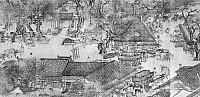 0124194 © Granger - Historical Picture ArchiveKAIFENG: STREET SCENE.   Street scene in the Northern Sung capital of Kaifeng, China. Detail from the scroll painting 'Along the River during the Ch'ing-ming Festival,' Sung Dynasty, early 12th century, by Zhang Zeduan.