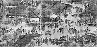 0124199 © Granger - Historical Picture ArchiveKAIFENG: STREET SCENE.   Street scene in the Northern Sung capital of Kaifeng, China. Detail from the scroll painting 'Along the River during the Ch'ing-ming Festival,' Sung Dynasty, early 12th century, by Zhang Zeduan.