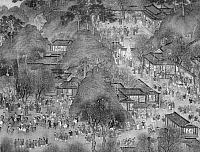 0124204 © Granger - Historical Picture ArchiveKAIFENG: STREET SCENE.   Street scene in the Northern Sung capital of Kaifeng, China. Detail from a Ming Dynasty silk handscroll, 16th-early 17th century, after the scroll painting 'Along the River during the Ch'ing-ming Festival,' early 12th century, by Zhang Zeduan.