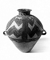 0259906 © Granger - Historical Picture ArchiveCHINA: NEOLITHIC POTTERY.   Neolithic painted pottery urn made by the Yangshao culture, which flourished along the Yellow River in China, 5000 B.C. - 3000 B.C.