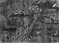 0259927 © Granger - Historical Picture ArchiveCHINA: QINGMING FESTIVAL.   'Going Upriver on the Quingming Festival.' Ink on silk handscroll painting after Qiu Ying, Qing dynasty, 1644-1911.