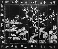 0260256 © Granger - Historical Picture ArchiveCHINESE SCREEN, c1660.   Section of a Chinese Coromandel Screen, a carved and painted lacquered wooden screen, from the Hsuan Ho Palace in Peking c1660.