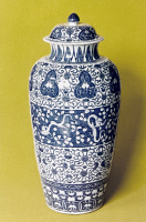0353213 © Granger - Historical Picture ArchiveCHINA: PORCELAIN, c1700.   Monumental vase known as a 'dragon vase.' Porcelain with blue underglaze, made in Jingdezhen, China, during the Kangxi period of the Qing Dynasty, c1700. Height: 96.2 centimeters.