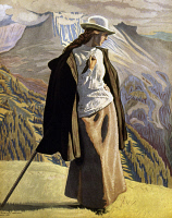 0036829 © Granger - Historical Picture ArchiveWILLUMSEN: A MOUNTAINEER.   'A Mountain Climber.' Oil on canvas, 1912, by Jens Ferdinand Willumsen.
