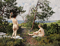 0433826 © Granger - Historical Picture ArchiveFISCHER: BATHING GIRLS.   'Two Bathing Girls in the Bushes Near the Coast of Hornbæk.' Oil on canvas, Paul Fischer, c1916.