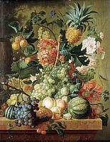 0019873 © Granger - Historical Picture ArchiveBRUSSEL: FRUITS, 1789.   Fruit and Flowers. Oil on canvas, 1789, by Paulus van Brussel. RESTRICTED OUTSIDE US.