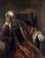 0019900 © Granger - Historical Picture ArchiveOLD MAN IN AN ARMCHAIR.   'An Old Man in an Armchair.' Oil on canvas by a follower of Rembrandt, c1655. RESTRICTED OUTSIDE US.