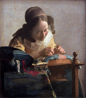 0025046 © Granger - Historical Picture ArchiveVERMEER: LACEMAKER, 1665.   'The Lacemaker.' Oil on canvas by Johannes Vermeer, c1665.