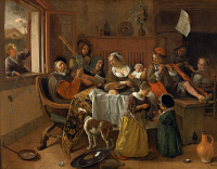 0025668 © Granger - Historical Picture ArchiveJAN STEEN: FAMILY SCENE.   'The Merry Family.' Oil on canvas by Jan Steen, 1668.