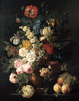 0028401 © Granger - Historical Picture ArchiveDAEL: FLOWERS, 1810.   Vase of flowers, grapes, and peaches. Oil, 1810, by Jan Frans van Dael.