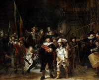 0056507 © Granger - Historical Picture ArchiveREMBRANDT: THE NIGHT WATCH.   'The Night Watch,' or 'The Shooting Company of Frans Banningh Cocq.' Oil on canvas by Rembrandt Van Rijn, 1642.