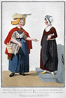 0124235 © Granger - Historical Picture ArchiveFISHWIFE AND HOUSEWIFE.   Satirical lithograph, Amsterdam, 1811.
