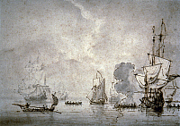 0133641 © Granger - Historical Picture ArchiveVAN DE VELDE: FRIGATE.   'Frigate at Anchor.' Pen and ink and wash drawing by Willem van de Velde, 17th century.