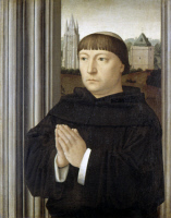 0350804 © Granger - Historical Picture ArchiveDAVID: FRIAR PRAYING.   An Augustinian Friar Praying. Oil on oak panel by Gerard David, c1515. RESTRICTED OUTSIDE US.
