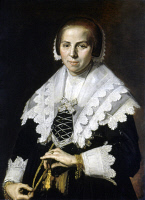 0350814 © Granger - Historical Picture ArchiveHALS: WOMAN WITH FAN, c1640.   Portrait of a Woman with a Fan. Oil on canvas by Frans Hals, c1640. RESTRICTED OUTSIDE US.