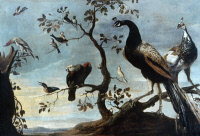 0350828 © Granger - Historical Picture ArchiveSNYDERS: BIRDS, c1635.   'Group of Birds Perched on Branches.' Oil on canvas by Frans Snyders, c1635.
